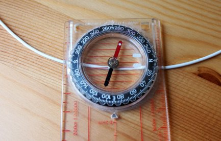 Image of a compass on a piece of wire.
