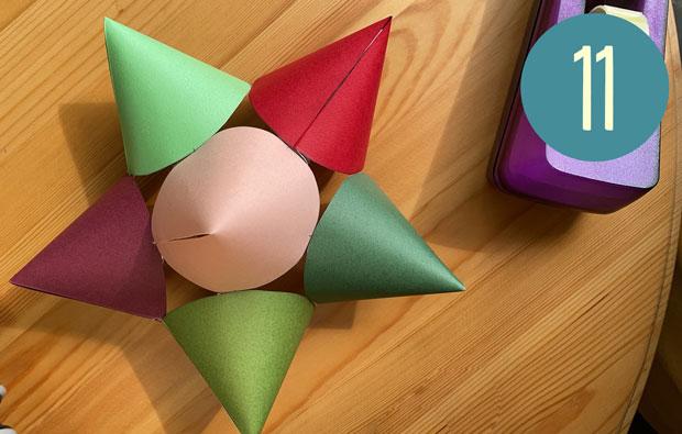 Sticking cones together.