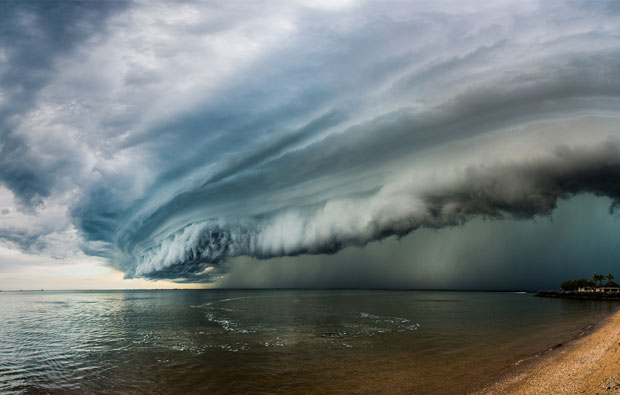 Storm clouds rolling over the ocean.