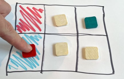 Six squares drawn in a grid, two end squares are coloured, one red, one blue. There are tiles on five of the six squares.