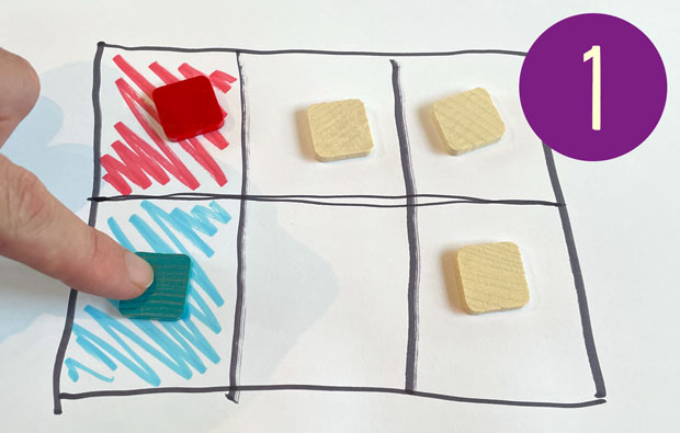 Six squares drawn in a grid, two end squares are coloured, one red, one blue. There are tiles on five of the six squares.Six squares drawn in a grid, two end squares are coloured, one red, one blue. There are tiles on five of the six squares.