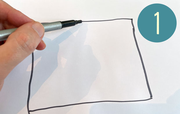 Drawing a rectangle on paper with pen.