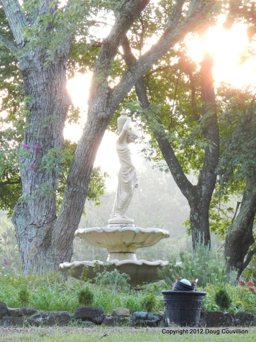 backlit photograph of a fountain