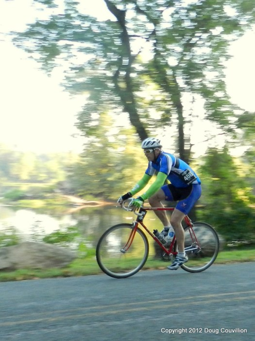 photograph of an individual cyclist on Riverside Drive