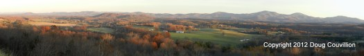 Panoramic photograph of a rural landscape at sunset