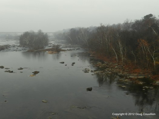 photograph of the James River in early morning fog