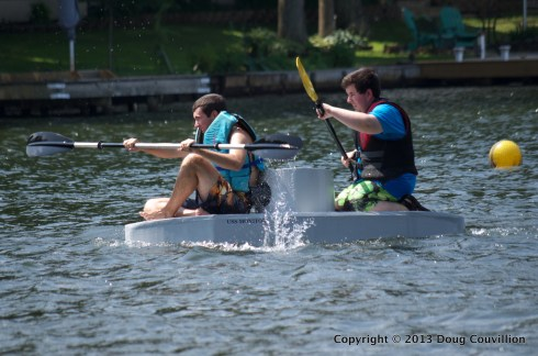 photograph of the cardboard boat USS Monitor in the 2013 Lake Of The Woods Cardboard Boat Regatta