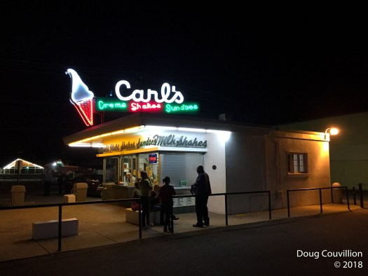 Photograph of Carl's soft serve ice cream stand at night in Fredericksburg, Virginia by Doug Couvillion
