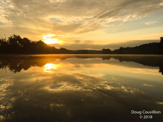 Photograph of the sunrise at Huguenot Flatwater in Richmond, VA by Doug Couvillion