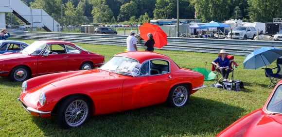A red, 1963 Lotus Elite