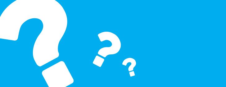 blue background with 3 white question marks