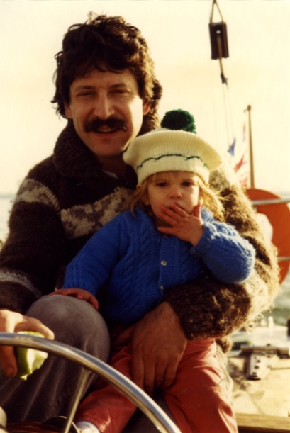 Carys Cragg as a child with her father