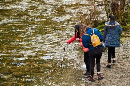 Geography students spent a damp Saturday in February exploring the Coquitlam River Watershed.