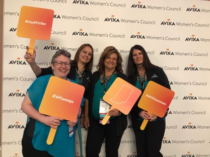 Penny, Heather, Amy, and Kimberly showing their support for the women of AVIXA.