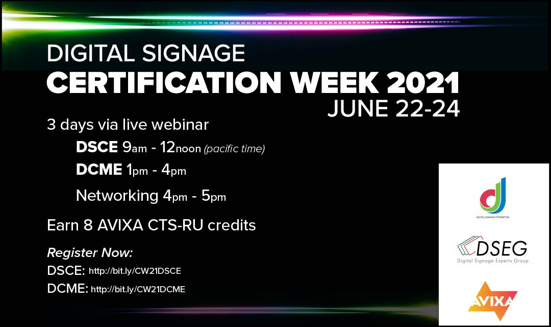 Digital Signage Pros Can Earn Certifications During Special Event Next Week