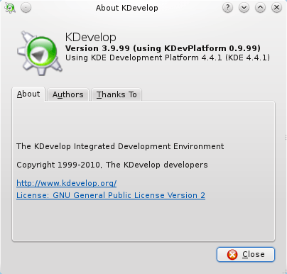 Kdevelop beta9 about dialog