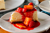 French Cream Cheesecake with Peach Raspberry Melba