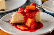 French Cream Cheesecake with Peach Raspberry Melba