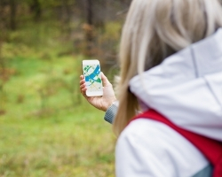 Woman geocaching