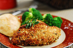 Parmesan herb crusted chicken with lemon garlic green beans