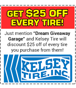 Get $25 off every tire from Kelsey Tire