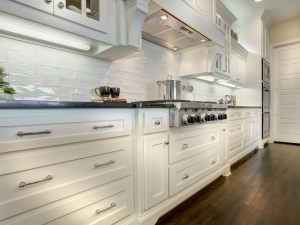 White kitchen cabinets with drawers