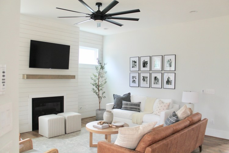 Interior Designer Hannah French's Family Room Featuring a Fireplace, Shiplap and Neutral Color Palette | By Drees Homes in Raleigh, North Carolina