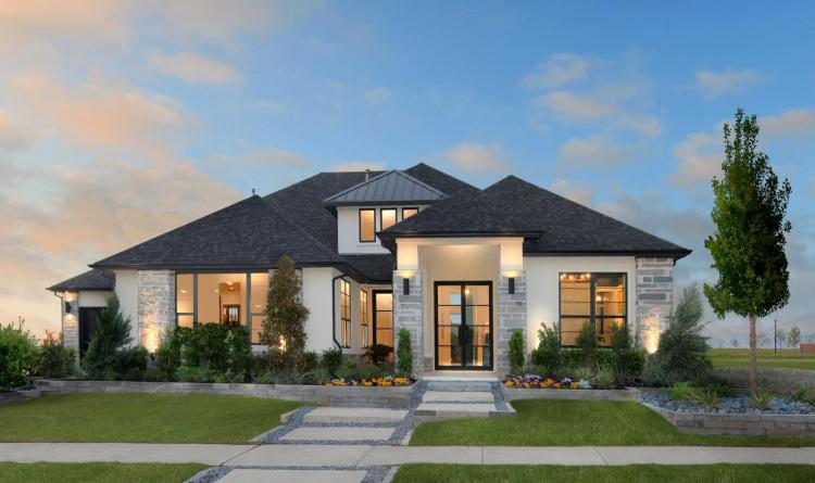Exterior of new Lauren II model home at Legacy Garden in Prosper Texas   Built by Drees Custom Homes