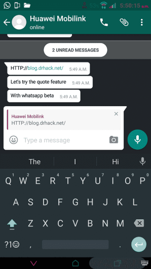 WhatsApp quote preview