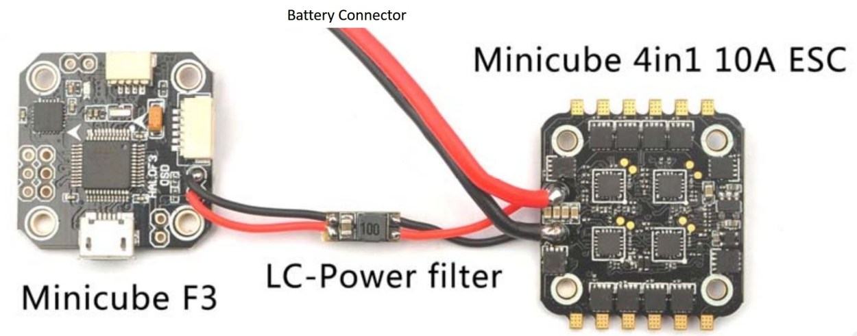 Powering the minicube F3 flight controller via an LC filter