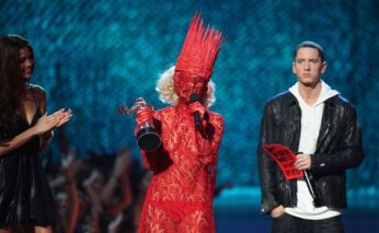 Lady Gaga on Stage with a Weird Red Dress
