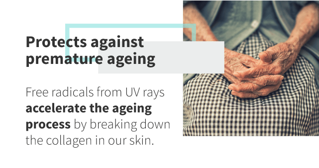Sunscreen protects against premature aging