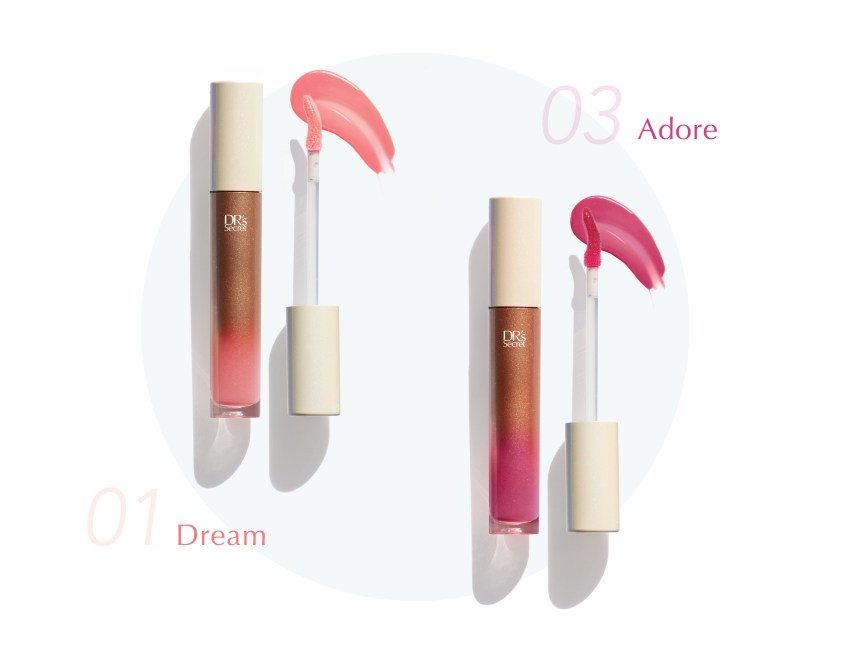 Lip Glacier in shade 01 Dream and 03 Adore
