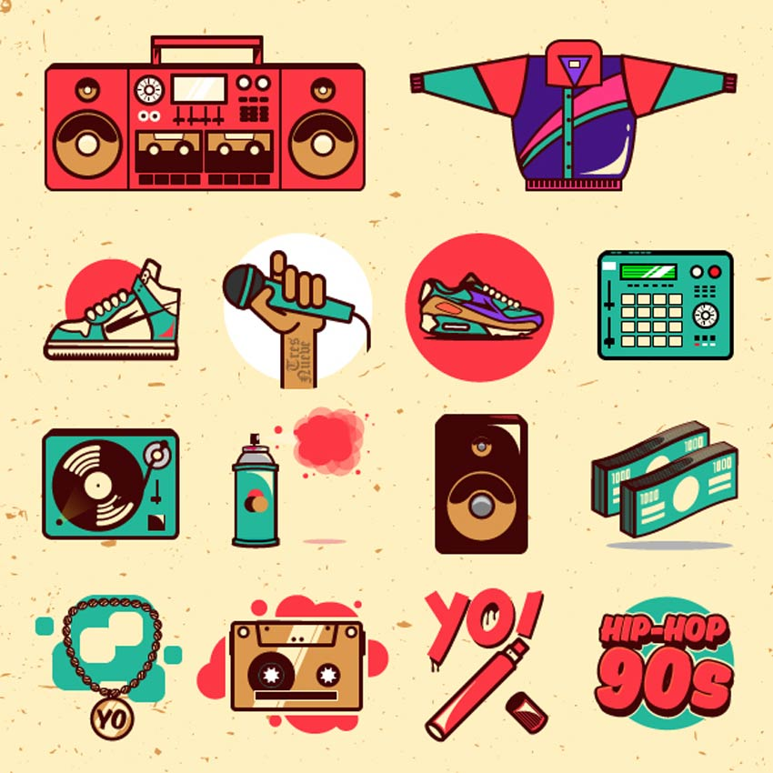 retro design hiphop illustratie pakket retro-ontwerp