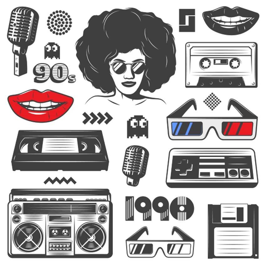 vintage 90 style elements set retro-ontwerp