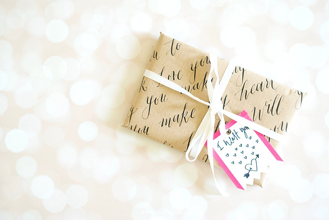 Lettering gift wrapping paper