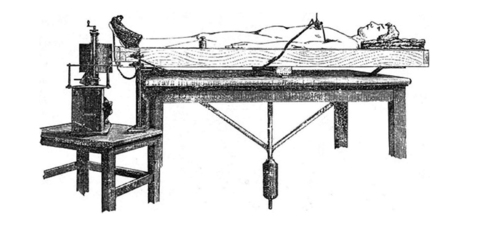 This is a drawing of Angelo Mosso's circulation balance from the 1880s.