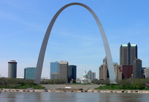 "This is the St Louis Gateway Arch, which indicates you are in the ""Show Me State"" of Missouri.  (click for credit)"