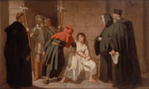 "This painting, by French artist Edouard Moyse, is entitled ""Inquisition."""