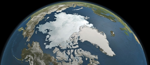 This was the extent of Arctic sea ice as seen by NASA's Aqua satellite September 3, 2010.