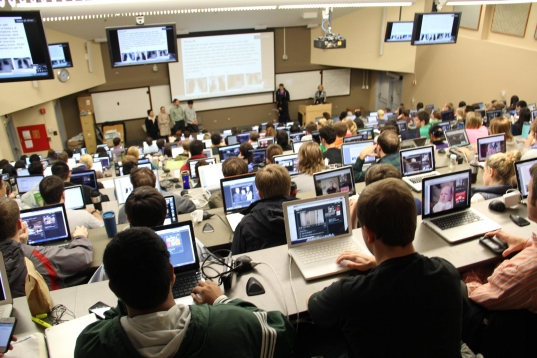 Medical students using laptops in class (click for credit)