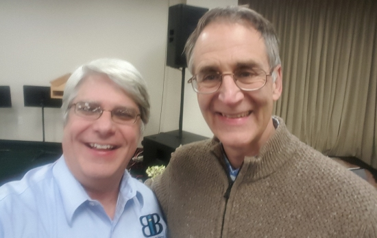 Dr. John Sanford (right) and me (left) at the Creation Science Fellowship Meeting in Costa Mesa, California.