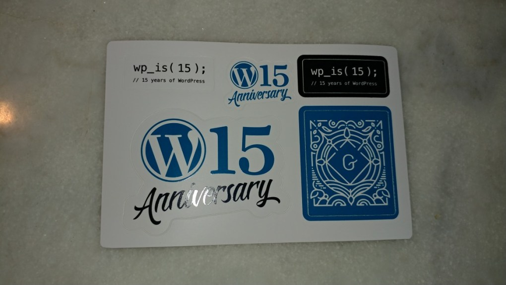 WordPress 15th Anniversary Stickers