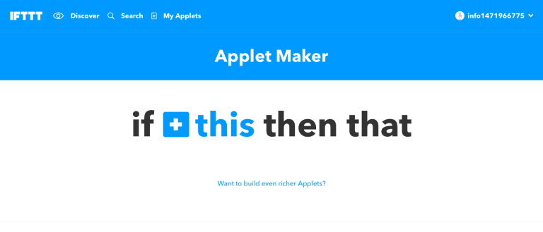 Screenshot relativo ad Applet Maker su IFTTT