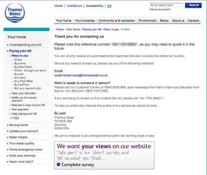 Thames Water website page