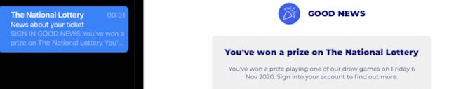Lottery win notification