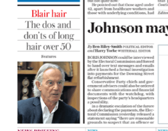 Newspaper clipping about Tony Blair's hair