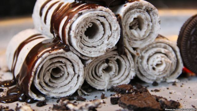 Thai Rolled Ice Cream via learningenglish.voanews.com