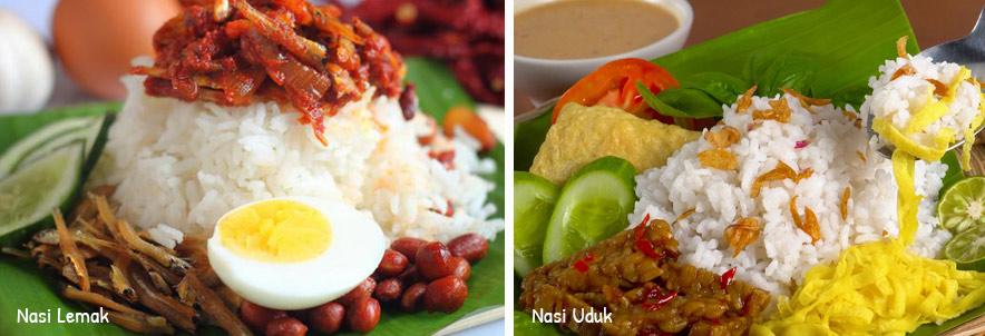 nasi lemak dan nasi uduk via liputan6.com dan masakapahariini.com ala tim duniamasak.com