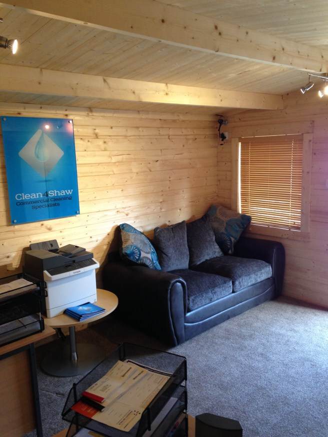 Working From Home - Log Cabin Dunster House with sofa
